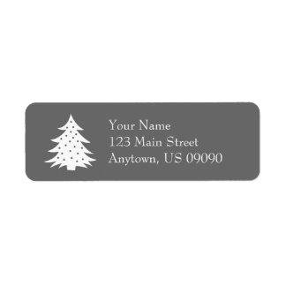 常緑のクリスマスツリーの宛名ラベル(灰色) ラベル