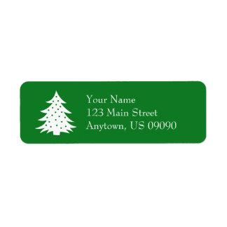常緑のクリスマスツリーの宛名ラベル(緑) ラベル