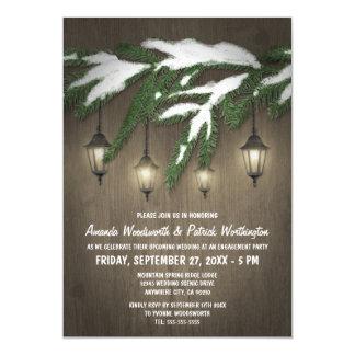 常緑のランタンの婚約パーティの招待状 カード