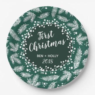 常緑の名前入り結婚する初めてのクリスマス ペーパープレート