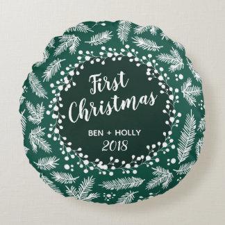 常緑の名前入り結婚する初めてのクリスマス ラウンドクッション
