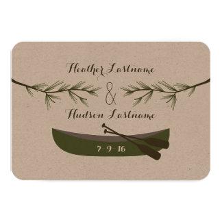 常緑の枝 + カヌーの結婚式の保存日付 カード
