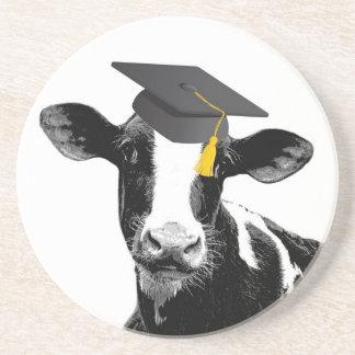 帽子のお祝いの卒業のおもしろいな牛 コースター