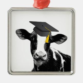 帽子のお祝いの卒業のおもしろいな牛 シルバーカラー正方形オーナメント