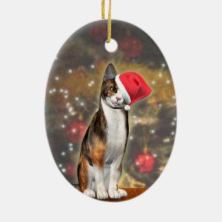 帽子のよくはしゃぐな猫とのMeowyのクリスマス セラミックオーナメント