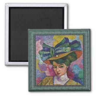 帽子のアートワークの磁石のジーンMetzingerの女性 マグネット