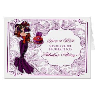 帽子のバースデー・カードの赤いおよび紫色の女性 カード
