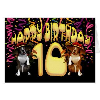 帽子のボクサー犬とのハッピーバースデー10 グリーティングカード