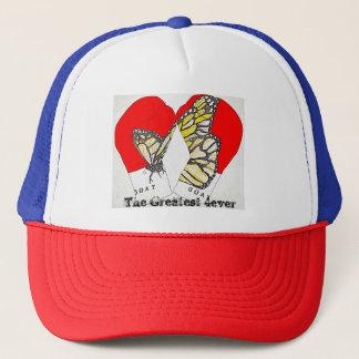 帽子のマダラチョウが付いている赤いボクシンググラブ キャップ