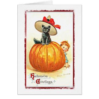 帽子のヴィンテージハロウィンの黒猫 グリーティングカード