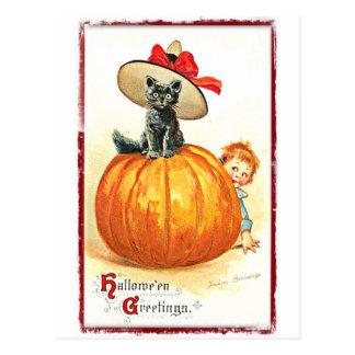 帽子のヴィンテージハロウィンの黒猫 ポストカード