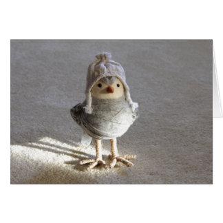 帽子の挨拶状が付いている少しフェルトの小鳥 カード