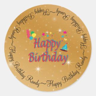 帽子の気球の星の吹流しのお祝いの誕生日のおもしろい ラウンドシール
