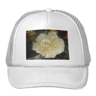 帽子の白いカーネーションの美しい メッシュキャップ