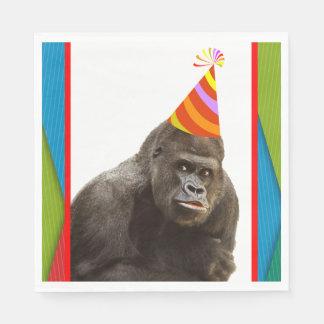 帽子の誕生日の動物のゴリラのようなパーティー スタンダードランチョンナプキン