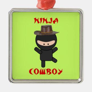 帽子を持つ忍者のカウボーイ メタルオーナメント