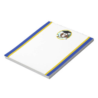 帽子及び免状を持つ卒業のフクロウ-青および金ゴールド ノートパッド