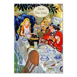 帽子屋のお茶会の結婚式の保存日付 8.9 X 12.7 インビテーションカード