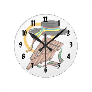 帽子鍋のフルートのリボン音楽design.png ラウンド壁時計