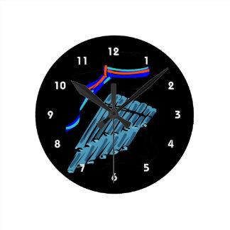 帽子青い鍋のフルートのリボン音楽design.png ラウンド壁時計