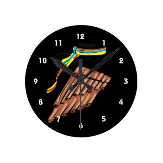 帽子黒い鍋のフルートのリボン音楽design.png ラウンド壁時計