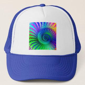 帽子-サイケデリックなフラクタルの青いterquoiseの緑 キャップ