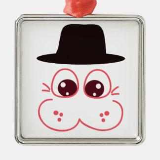 帽子 シルバーカラー正方形オーナメント
