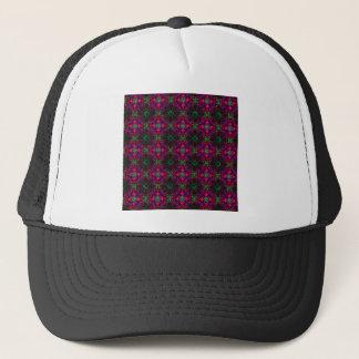 帽子-フラクタルパターンピンクの緑の紫色の赤 キャップ