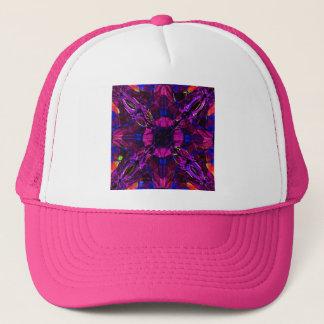 帽子-フラクタルパターン紫色の青いピンク キャップ