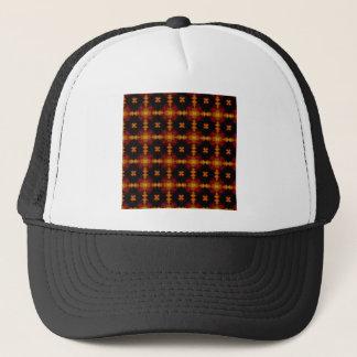 帽子-レトロのフラクタルパターン赤く黒い黄色 キャップ