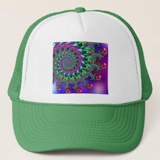 帽子- 《写真》ぼけ味のフラクタルの紫色Terquoise キャップ