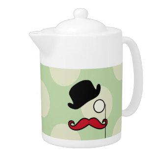 帽子、口ひげ、Monocle、点-黒い緑の赤