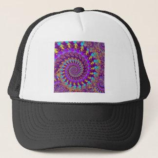 帽子-熱狂するなフラクタルの紫色のterquoiseの黄色 キャップ