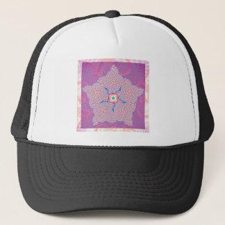 帽子-紫色の星のフラクタルパターン キャップ