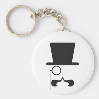 帽子、髭および独身のな接眼レンズが付いている顔 キーホルダー
