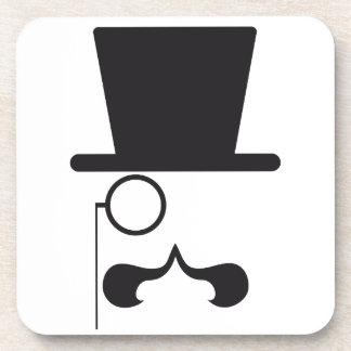 帽子、髭および独身のな接眼レンズが付いている顔 コースター