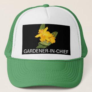帽子、黄色いcattleya、庭師責任者 キャップ