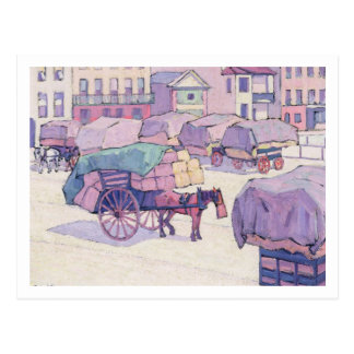 干し草のカート、カンバーランドの市場(キャンバスの油) ポストカード