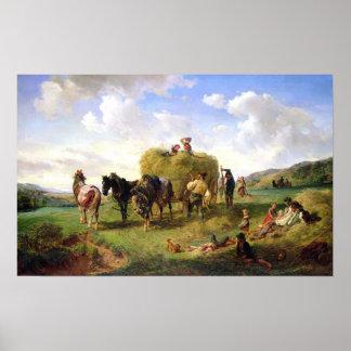干し草の収穫1869年 ポスター