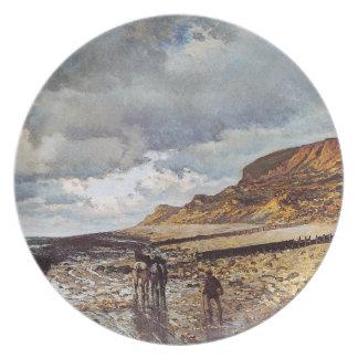 干潮クロード・モネのHeveの岬 プレート