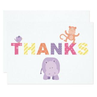 平たい箱はメッセージカード|のジャングル動物感謝していしています 8.9 X 12.7 インビテーションカード