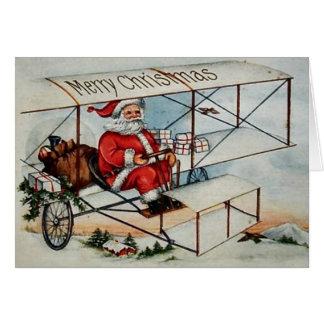 平らなクリスマスカードのヴィンテージサンタ カード