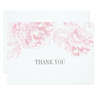 平らなサンキューカード|のピンクの花のシャクヤクのデザイン カード