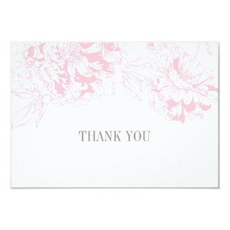 平らなサンキューカード|のピンクの花のシャクヤクのデザイン 8.9 X 12.7 インビテーションカード