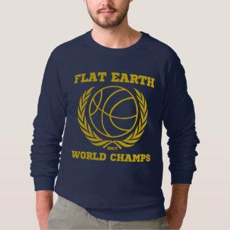 平らな地球の世界は金ゴールド海軍鋭いスタイルをむしゃむしゃ食べます スウェットシャツ