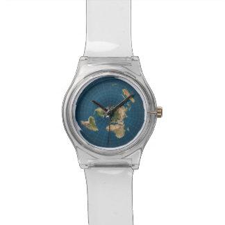 平らな地球の方位角の等距離の地図のスポーツの腕時計 腕時計