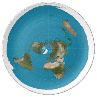 平らな地球 磁器プレート