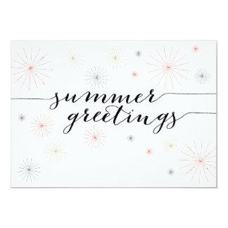 平らな夏の挨拶の花火 カード