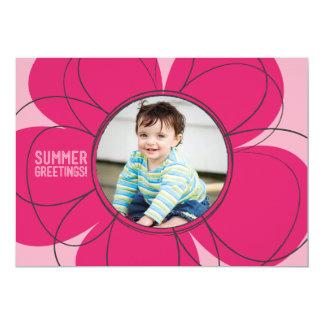 平らな夏の挨拶の開花 カード