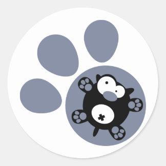 平らな子犬(ブルーグレー) ラウンドシール